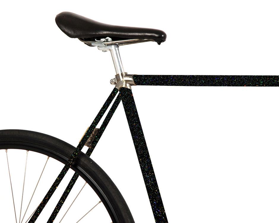 MOOXIBIKE, Folie, Fahrrad, bicycle, schwarz, galaxy, Sternenstaub, glitter