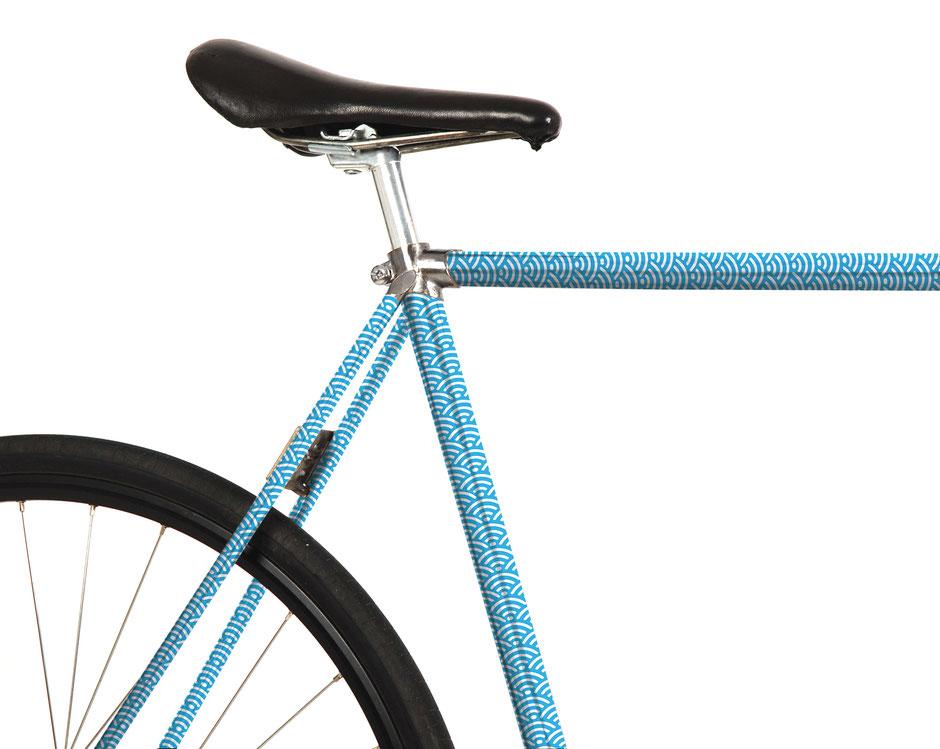 Mooxi-Bike, Fahrrad Folierung, Folie, Wellen, blau, Japan, Hokusai, Holzschnitt, Meer, japanese