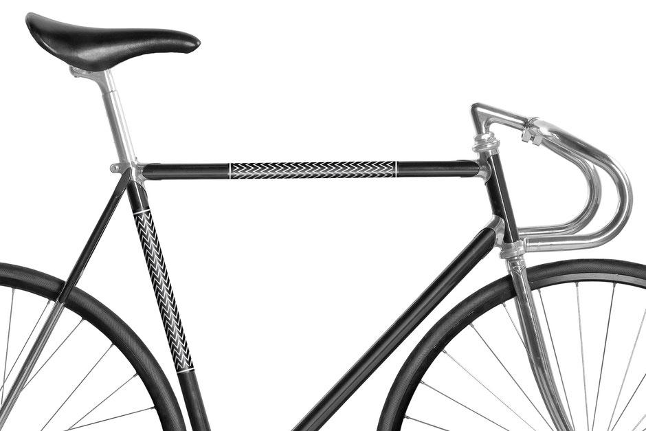 MOOXI-BIKE, Fahrrad, Bike, Panel, Banderole, weiß, schwarz, zickzack, Zacken, reflecktiv, reflektierend