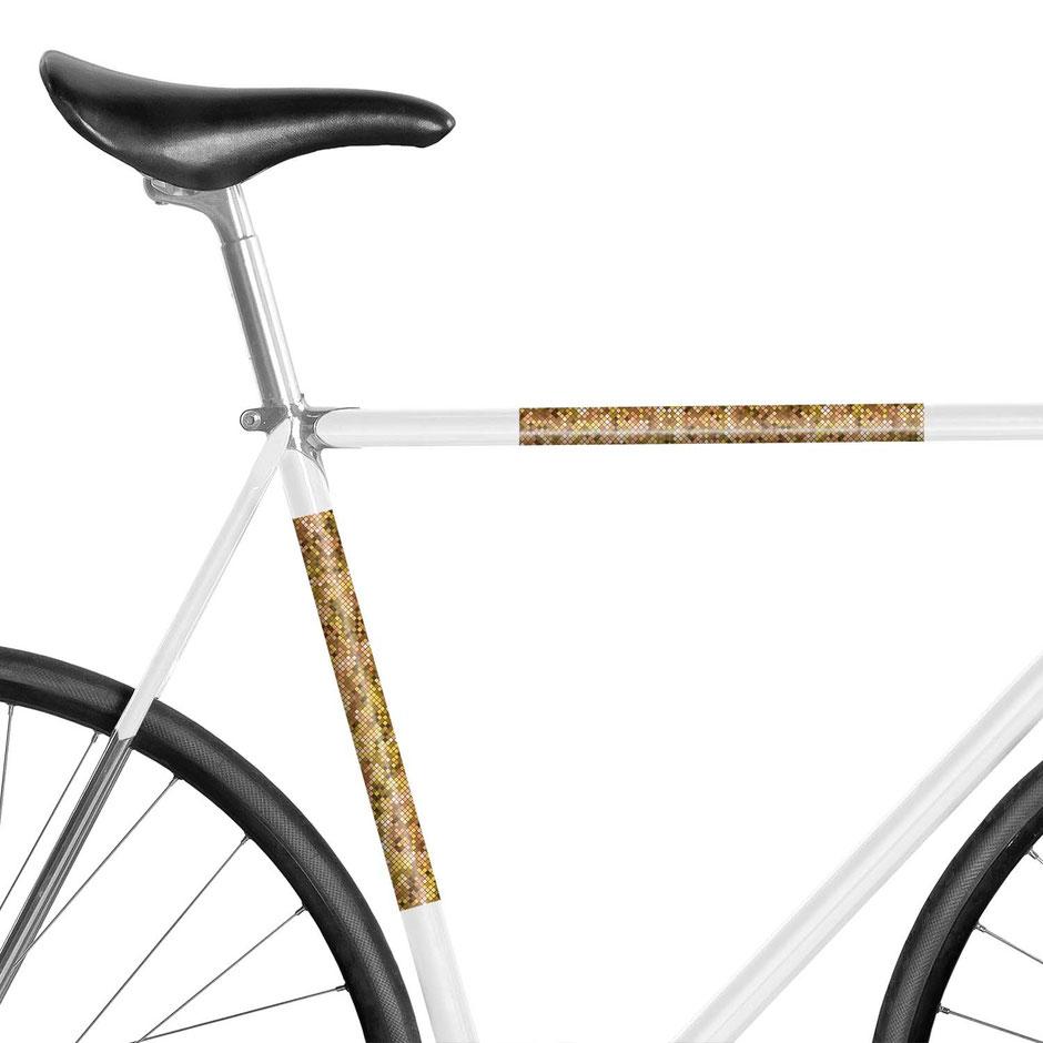 Fahrrad, reflektierende Folie, Pixels, Magenta, Orange