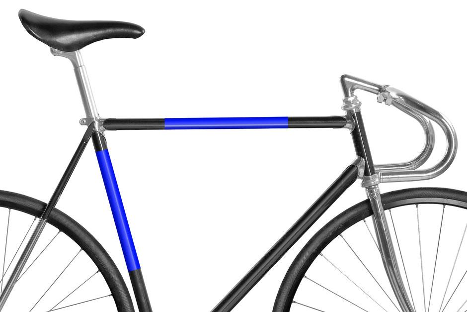 Fahrrad, Bike, Panel, Banderole, reflectiv, reflektierend, reflektierende Folie, Knallblau, blau