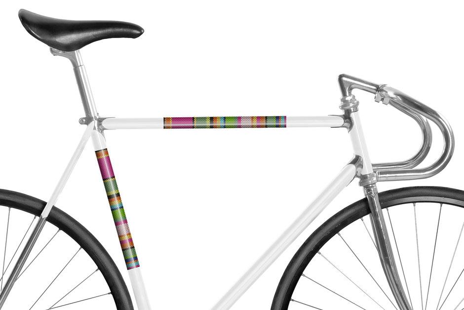 Fahrrad, Bike, Panel, Banderole, reflectiv, reflektierend, Strickoptik, DIY, optische Täuschung, Handmade,