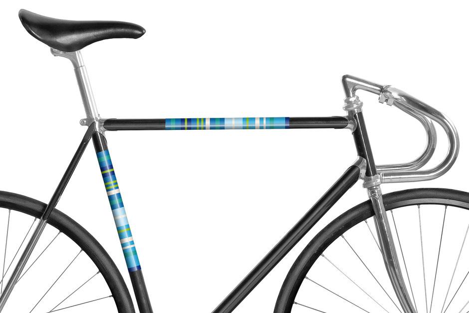 Fahrrad, reflektierende Folie, Streifen Blau