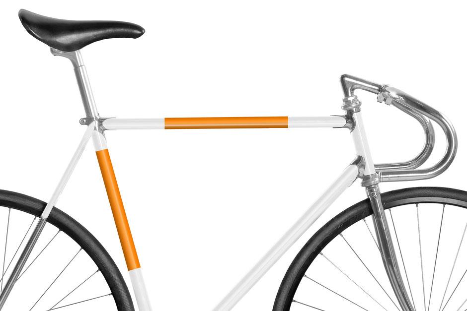 Fahrrad, Bike, Panel, Banderole, reflectiv, reflektierend, reflektierende Folie, Knallorange, orange