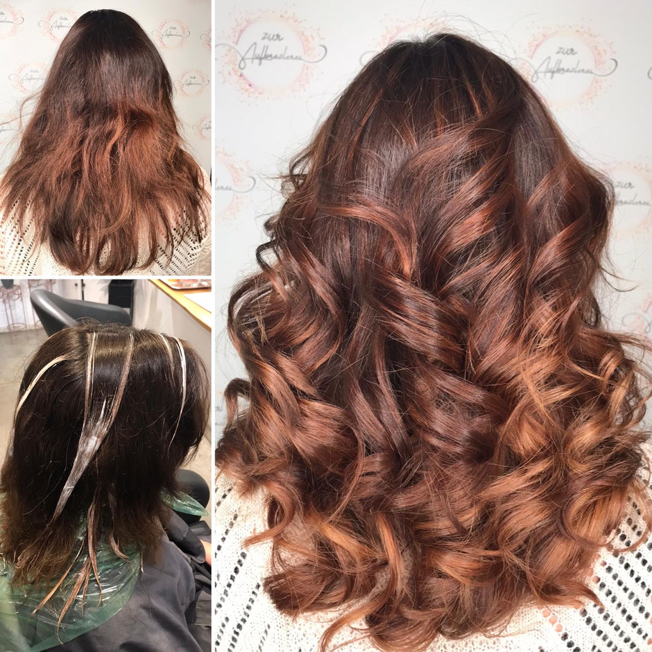 Toller Haarschnitt durch den Calligraphy Cut und schöne neue Haarfarbe durch Balayage und Glossing