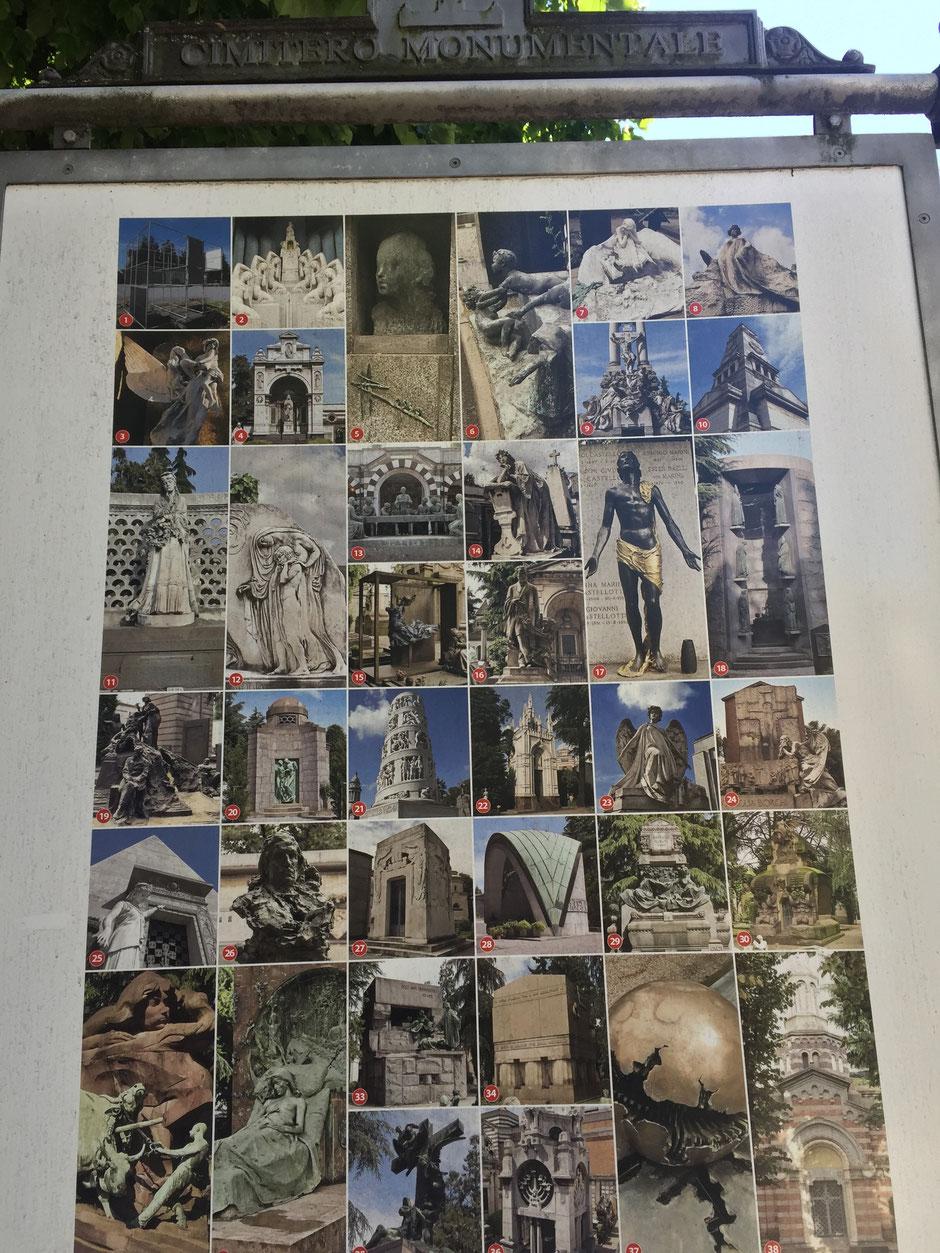 ミラノ記念墓地にある ここは必見!のお知らせパネル