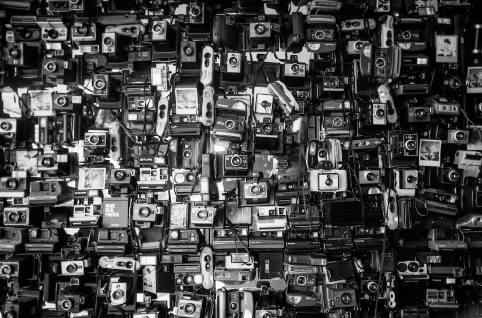 wall full of old polaroid cameras