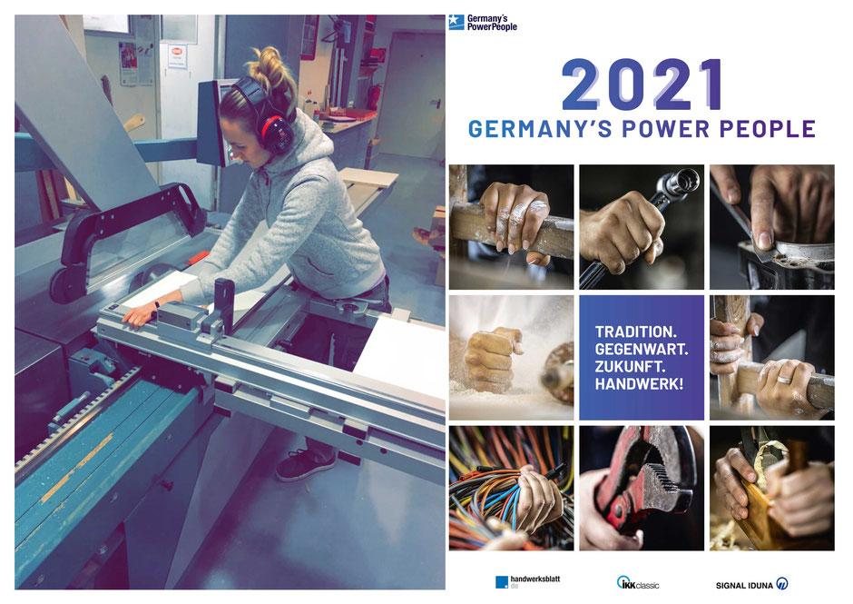 Annika Zeller aus Mettmann (l.) vertritt das Tischlerhandwerk im Finale der Germany's Power People und ist Teil des Handwerkkalenders 2021 (Coverabbildung, r.).   (Foto: GPP)
