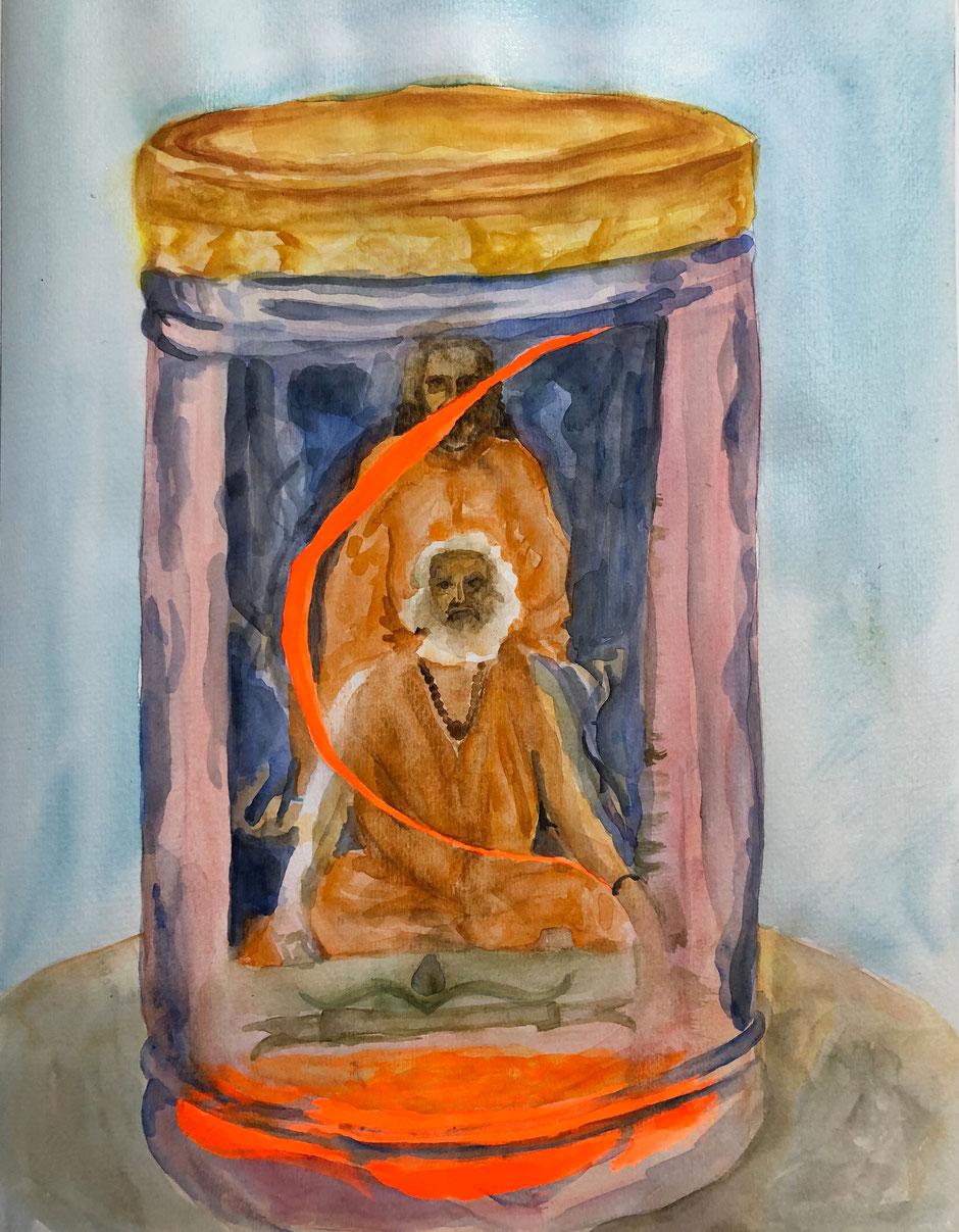 Yogiraj Gurunath Siddhanath and Sri Yukteswar Giri in an artwork by Günter Wintgens painted by Alissa Berger.