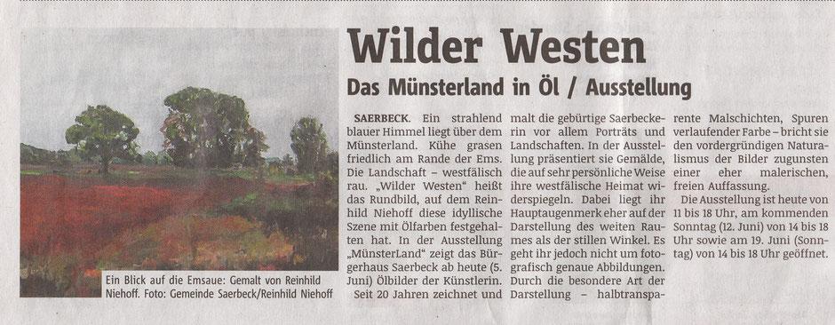 Pressebricht Ausstellung Reinhild Niehoff in Saerbeck im Juni 2016