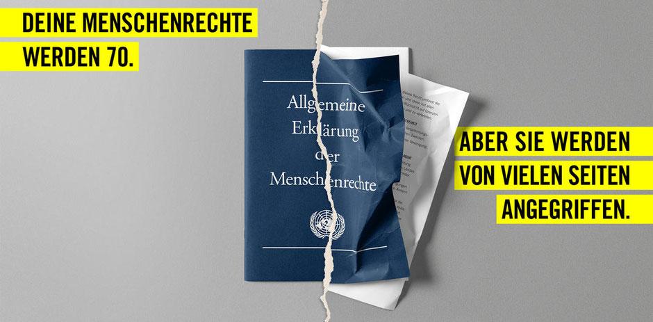 Die Allgemeine Erklärung der Menschenrechte  © Amnesty International, Foto: Jens Liebchen