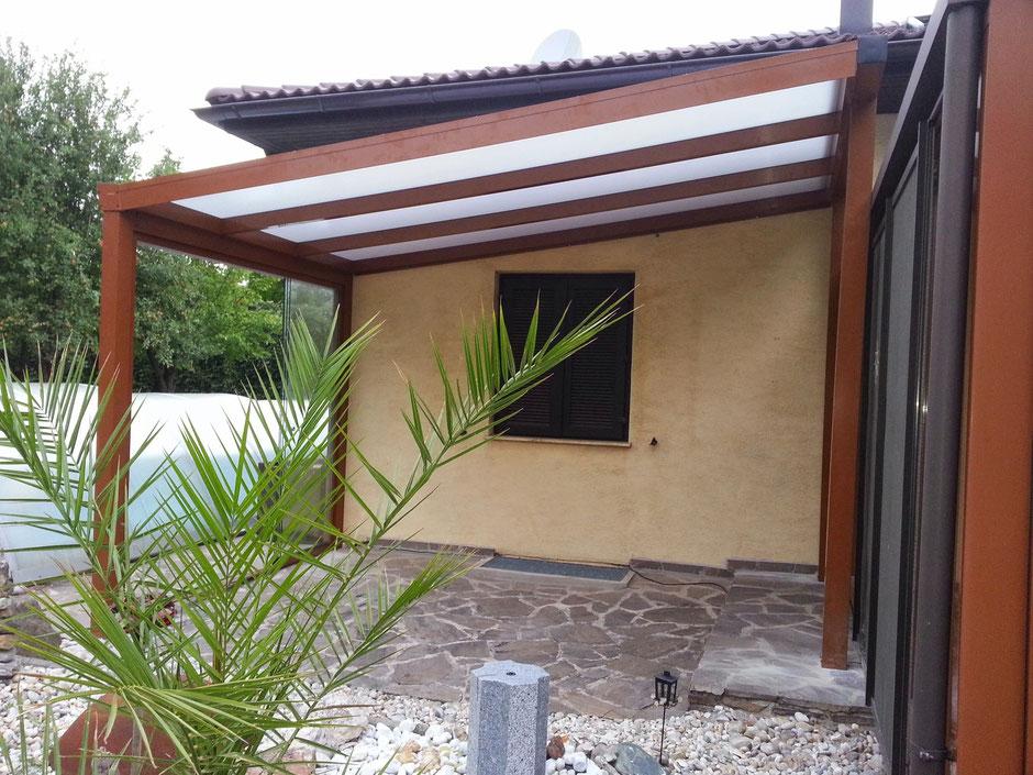 Terrassenüberdachung Bausatz PRIMA in Sonderfarbe Braun incl. Glasschiebetüren