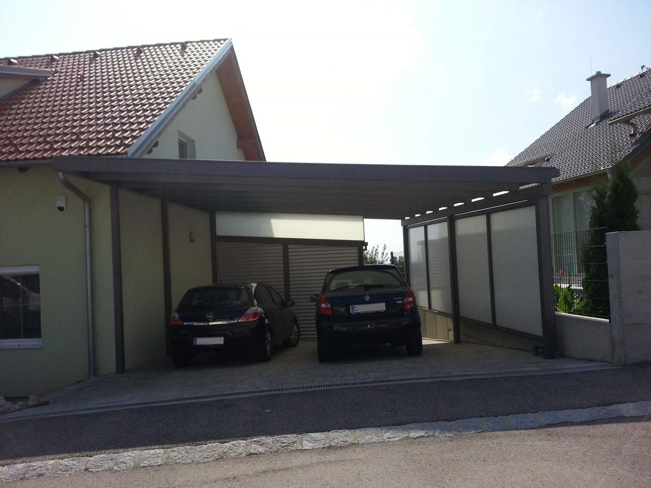 doppelcarport aus aluminium mit eindeckung aus. Black Bedroom Furniture Sets. Home Design Ideas