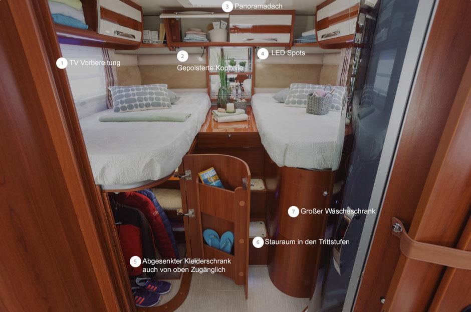 Schlafbereich K-Yacht Tekno Line