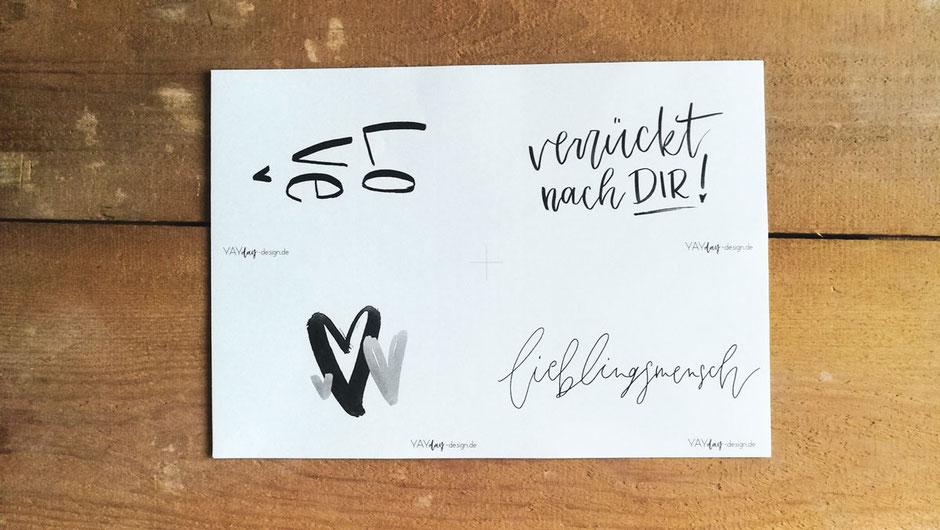 Freebie Valentinskarte Handlettering Postkarte