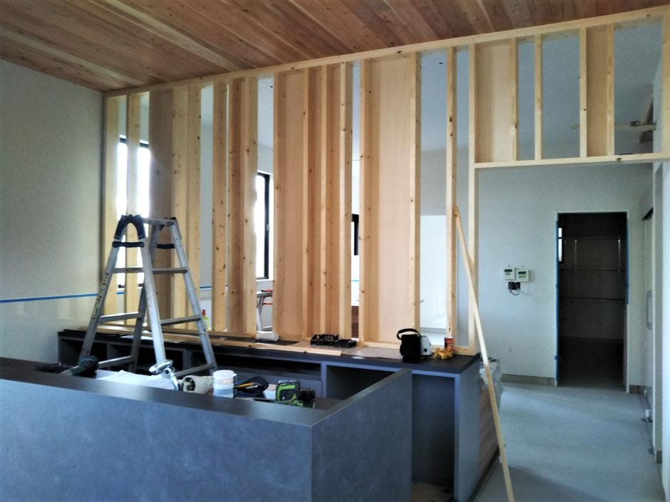 飾り壁面 家具工事 無垢の家具