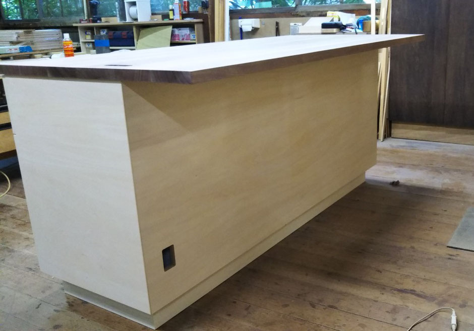 カウンターデスク キッチン収納 ウォールナット 木の家具