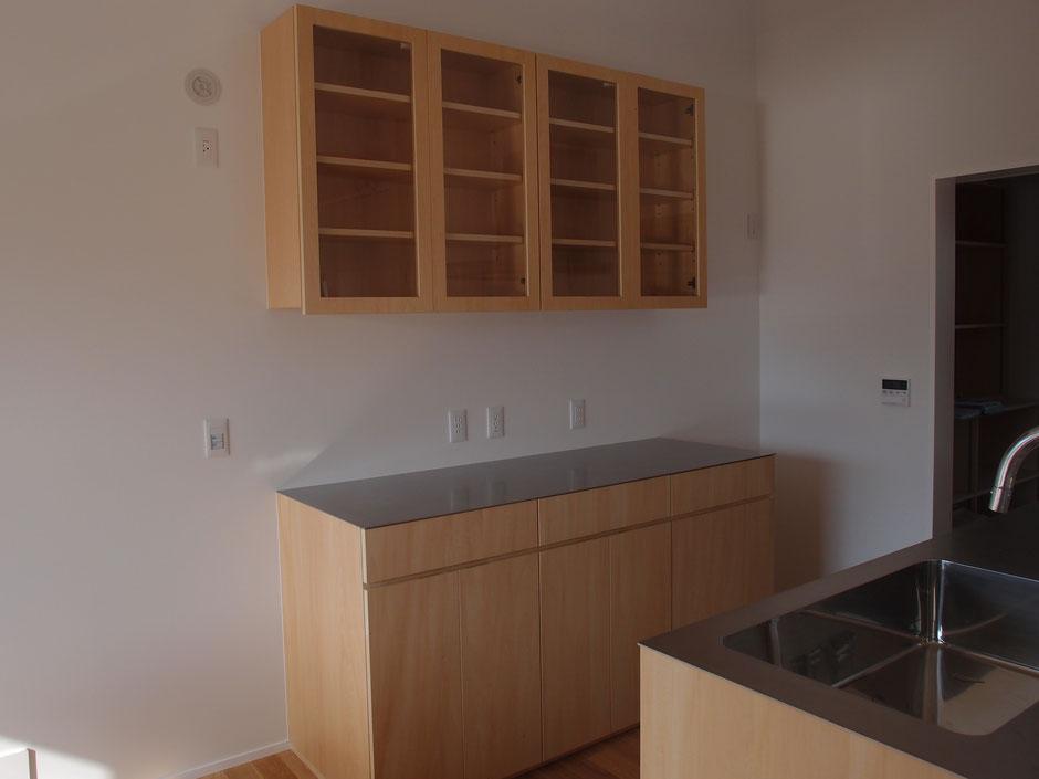 カップボード キッチン収納棚 シナ合板 ステンレス