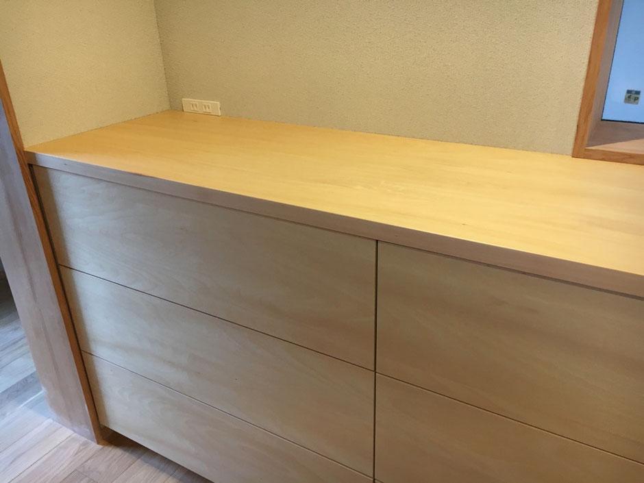シナ材 ウレタン塗装 キッチン収納 オーダー家具