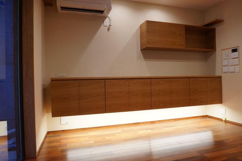 リビング 収納棚 カウンター 飾棚 神棚 タモ オーダー家具