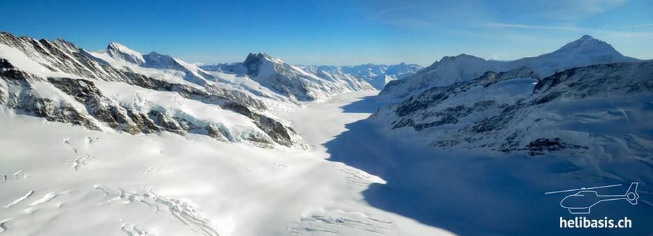 Jungfraujoch, Gletscher, Berge, Rundflug, Rundflüge, Heli, Helikopter, Colibri, EC120
