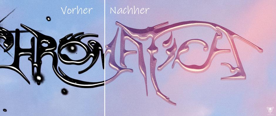 Schrift vorher und nachher. Anpassung durch: mehrere Farbverläufe, Schatten, Masken Interaktion | www.visovio.de