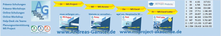 MS Project;Excel;PoerPoint;Access;Word;Schulungen;Stuttgart;Andreas Ganster IT Schulungen, IT Kurse, IT Seminare, IT Training, Computer Schulungen, Computer Kurse, PC Schulungen, PC Seminare, offene Schulungen, Firmenschulungen, Inhouse Seminare""