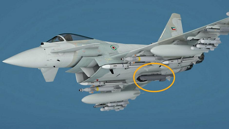 """Elaborazione grafica di un Typhoon del Kuwait, nel cerchio il pod """"Sniper"""". (Foto: Leonardo)"""