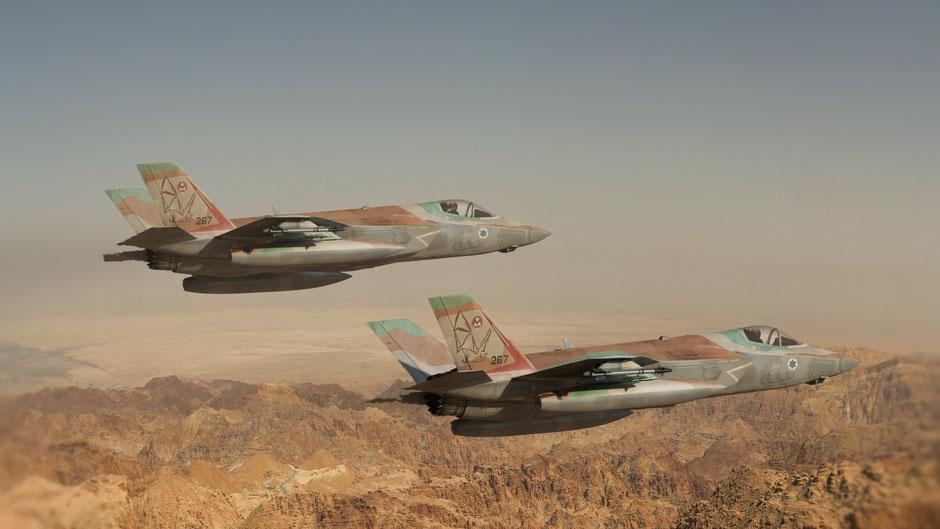 Rendering di due F-35I in formazione. (© Ofer Shafir)
