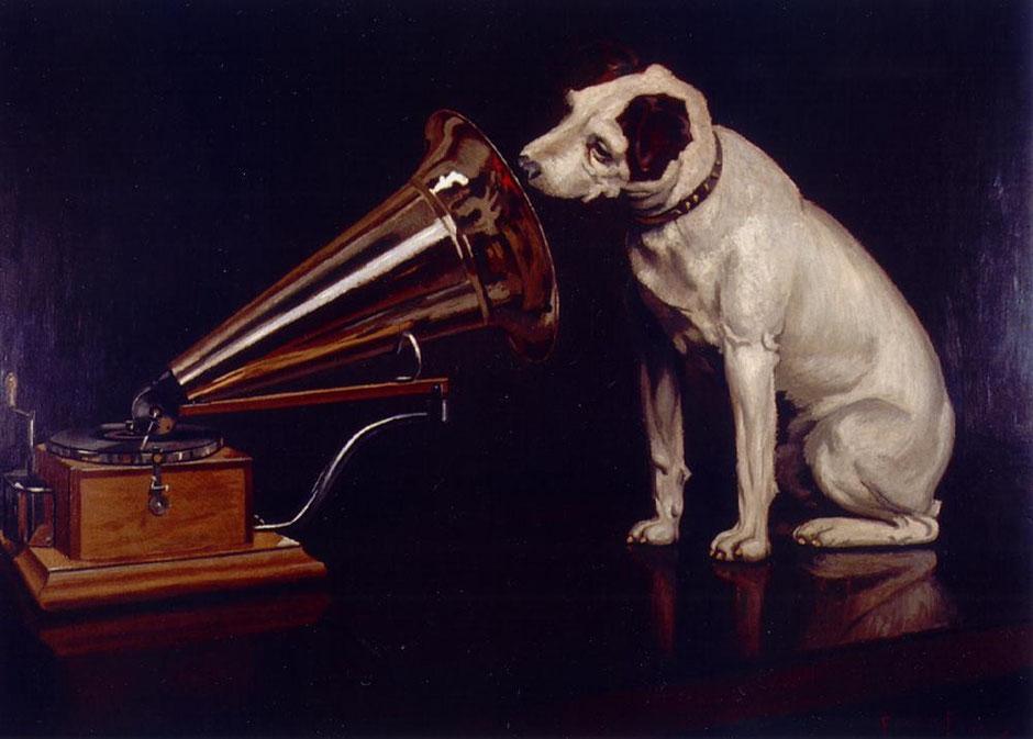 Oleo de Francis Barraud Titulado His Master voice. Se ve a un perro escuchando atentamente un megáfono de 1890