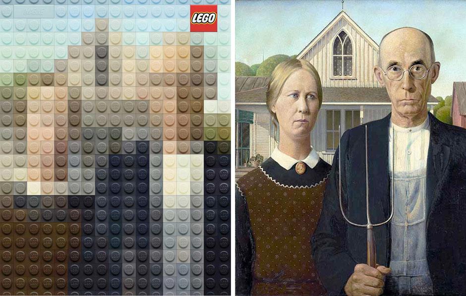 American Gothic  (Grant Wood) - Lego