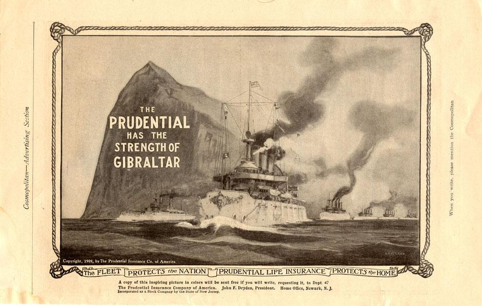 Anuncio de prensa de la Compañía Prudential en 1905. Se ve un barco a vapor navegando  con el peón de gibraltar detrás y el texto. PRudentail es igual de fuerte que el peñón de gibraltar