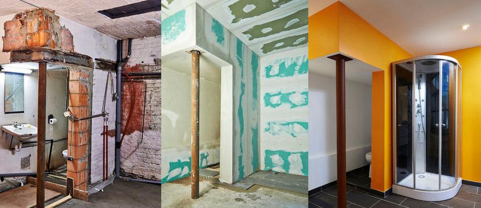 Trockenbau-Gipskartonplatten in einem Badezimmer