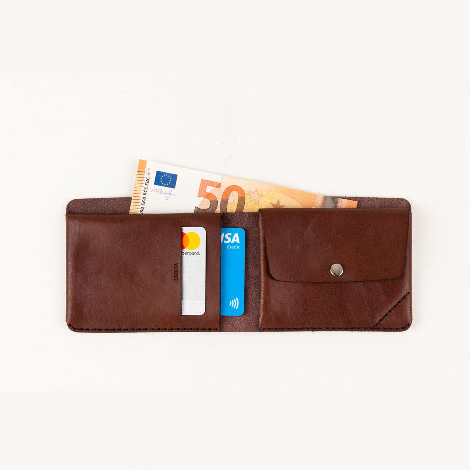 minimalistischer Portemonnaie Geldbeutel Leder Echtleder braun