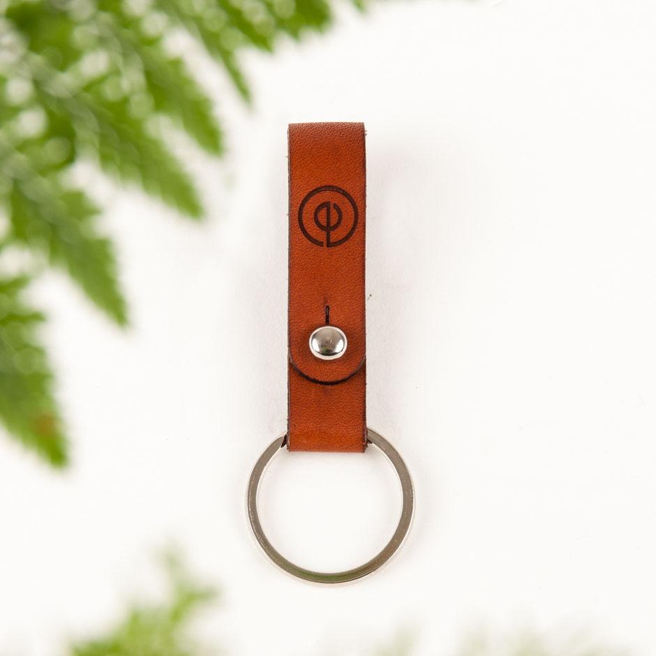 minimalistischer Schlüsselanhänger Leder Echtleder