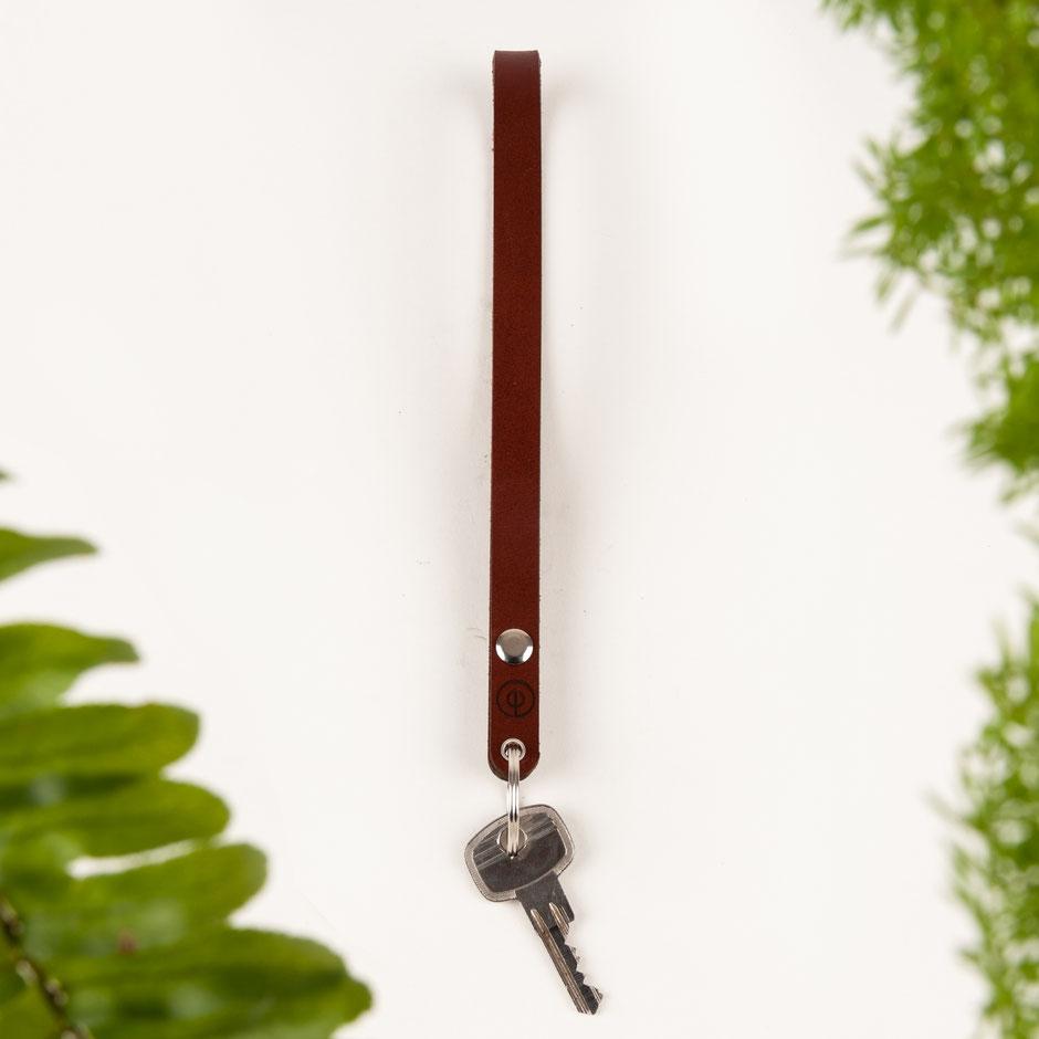 Echtleder Schlüsselanhänger aus pflanzlich gegerbtem Leder