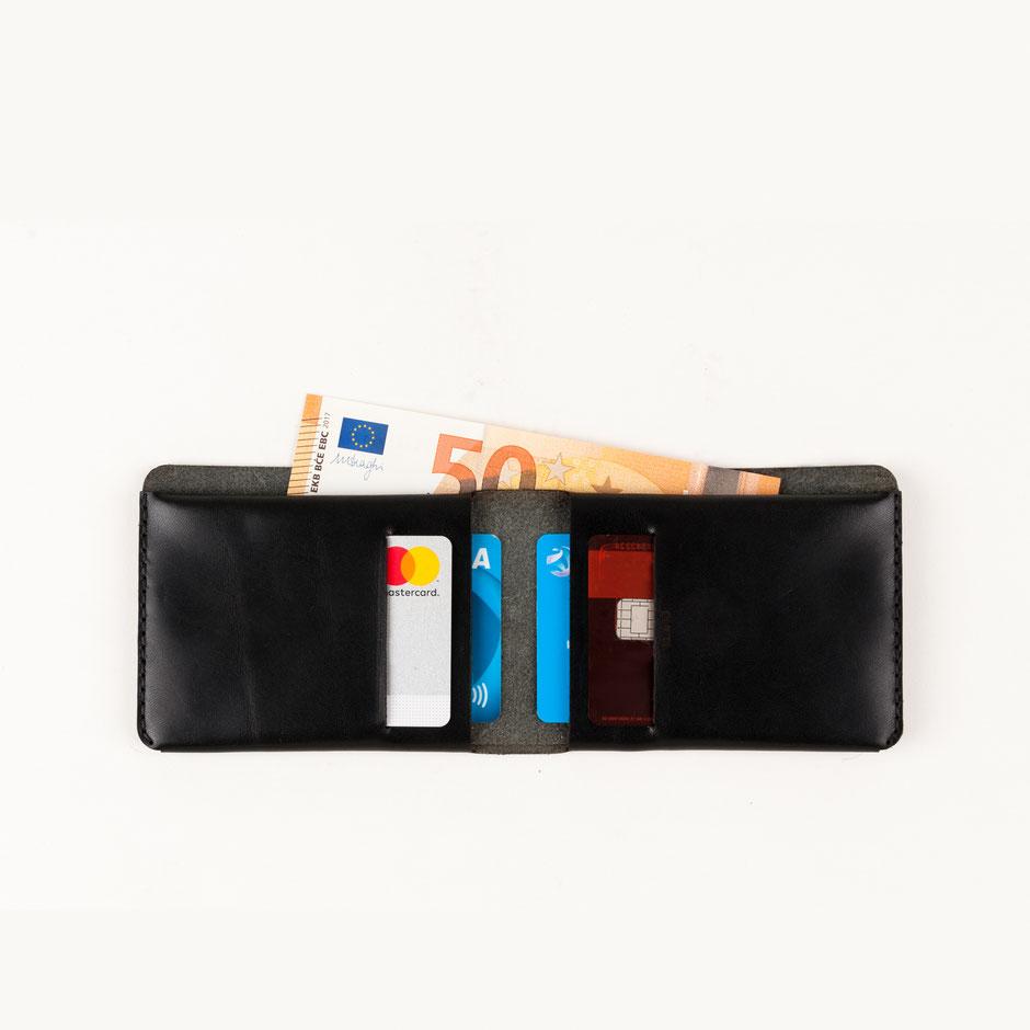 minimalistischer Cardholder 1 Leder schwarz Echtleder