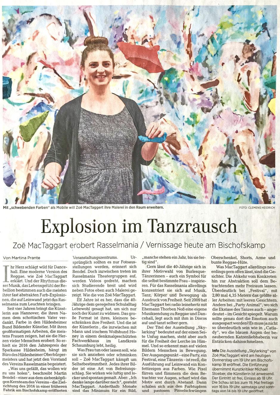 """""""Explosion im Tanzrausch - Zoë MacTaggart erobert Rasselmania"""" Artikel in der Hildesheimer Allgemeinen Zeitung am 02.05.2019"""