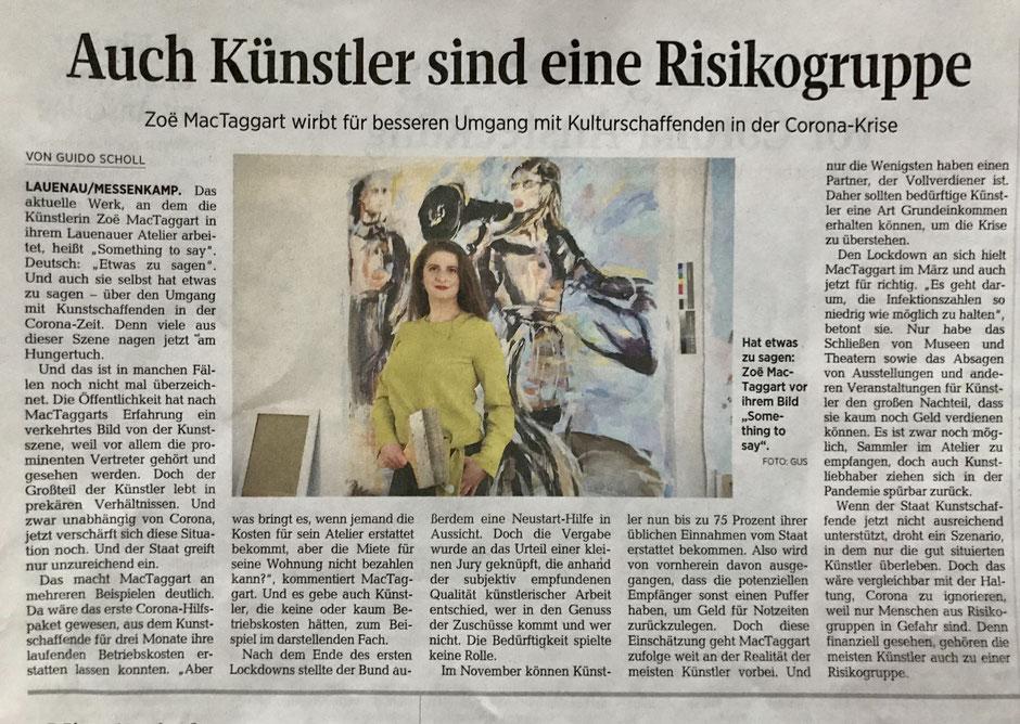 """""""Auch Künstler sind eine Risikogruppe. Zoë MacTaggart wirbt für besseren Umgang mit Kulturschaffenden in der Corona-Krise""""  Schaumburger Nachrichten, 21.11.2020, S. 11"""