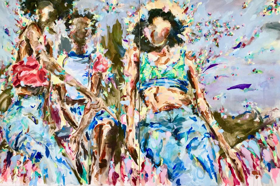 Farbenprächtiges Gemälde mit 3 weiblichen Figuren