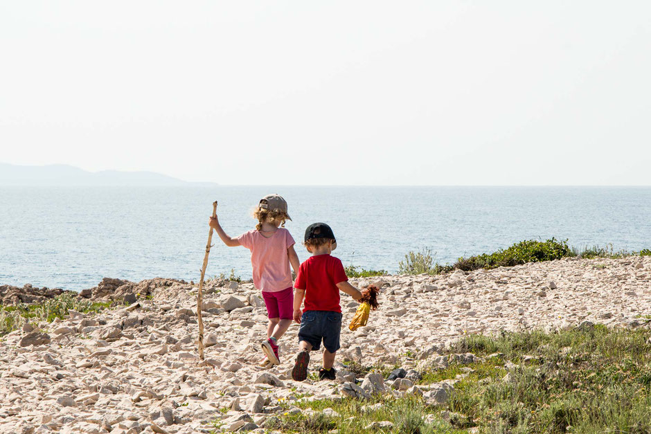 Hiking along Peninsula Raznjic Korcula Croatia with Kids