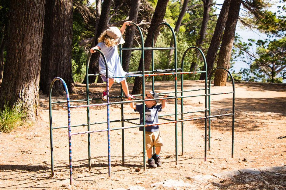 Gradac Park in Dubrovnik Croatia with a toddler and preschooler