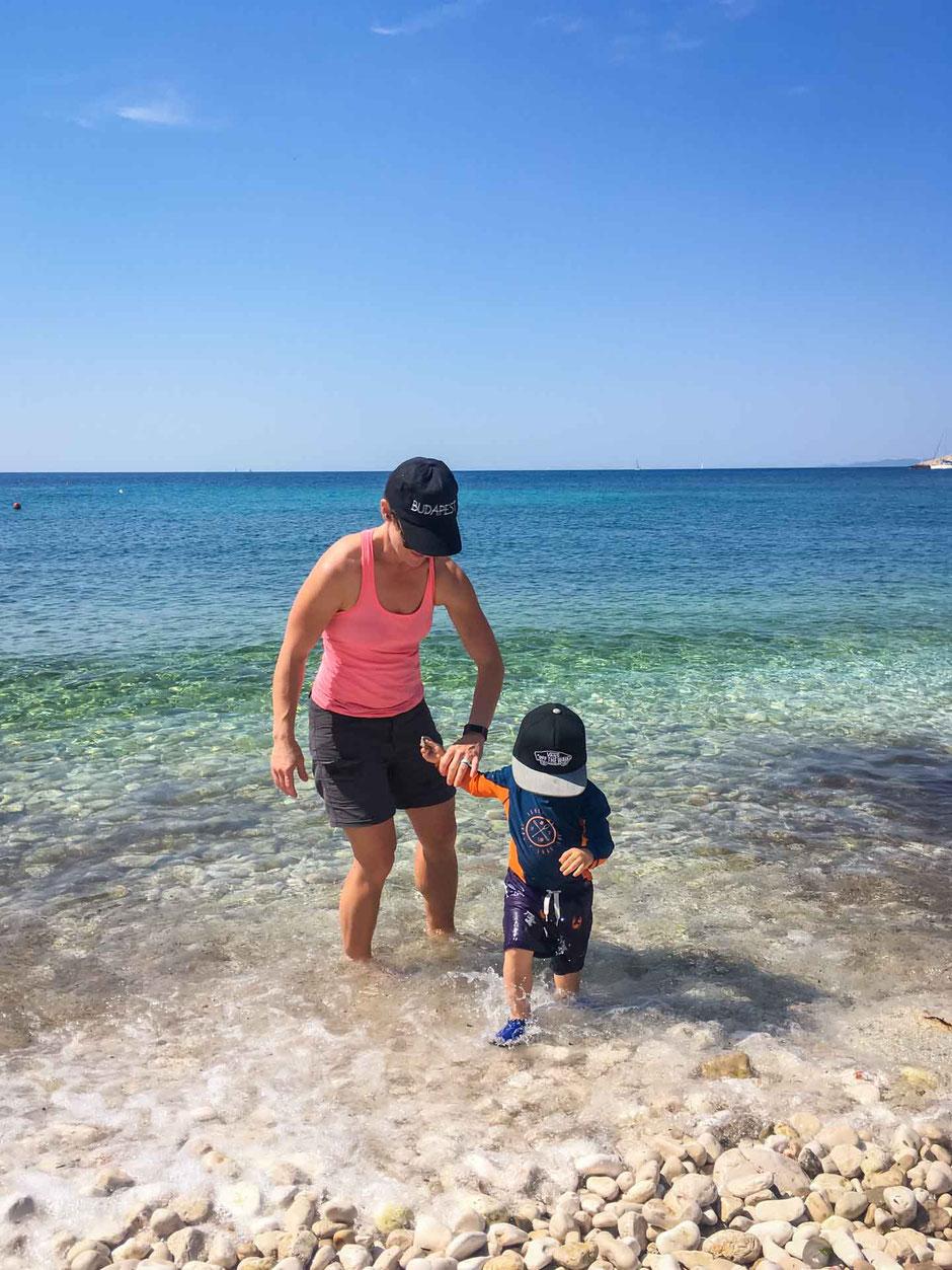 Playing on Milna Beach Hvar Croatia with Kids