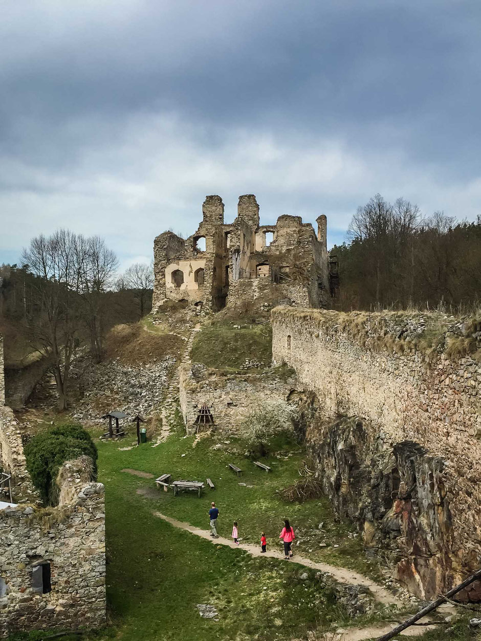 Exploring Hrad Divci Kamen with small children near Cesky Krumlov in the Czech Republic