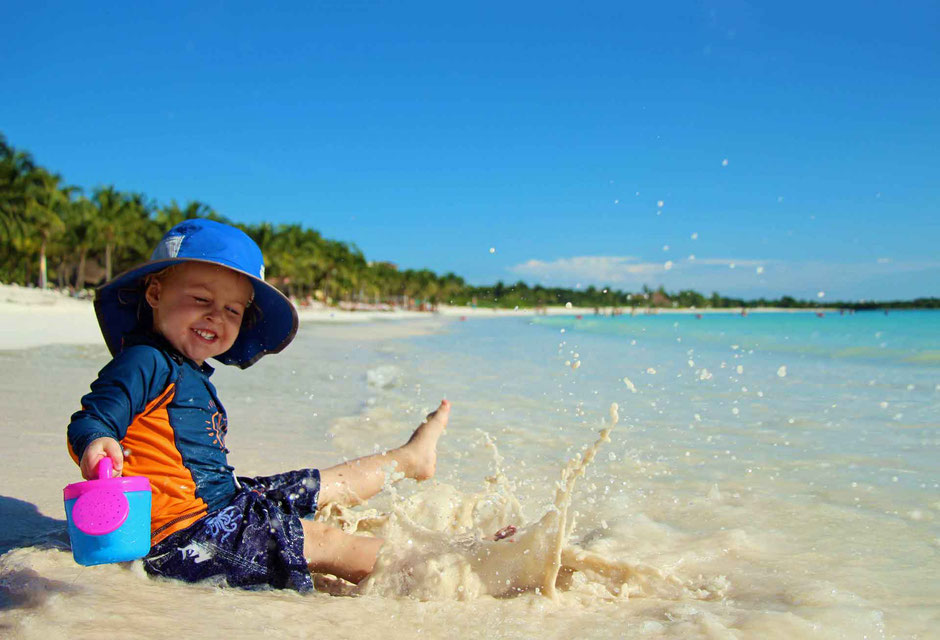 6 Best Public Family Beaches in Playa del Carmen - Off Resort - Xpu-ha - small waves are fun for little kids