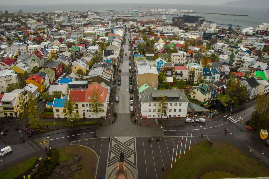 View from Lutheran church Hallgrimskirkja in Reykjavik Iceland
