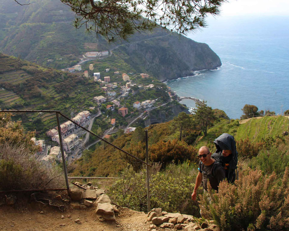 How to Hike Cinque Terre with Kids - Riomaggiore to Manarola - it doesn't take long to soar above Riomaggiore