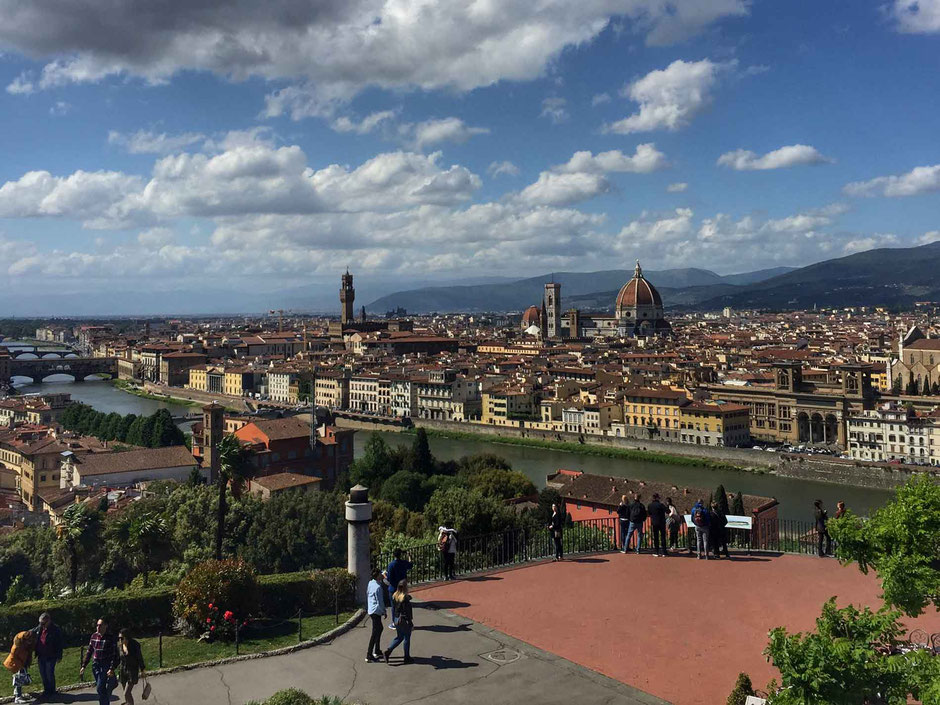 View of Florence from Piazzale Michelangelo with a toddler