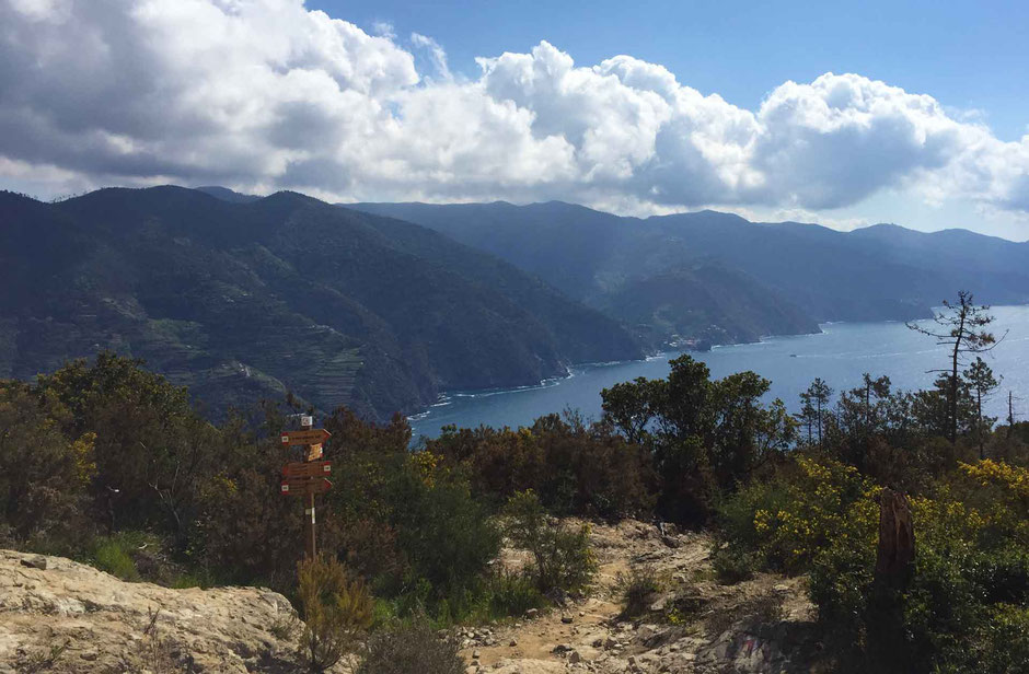 How to Hike Cinque Terre with Kids - Levanto to Monterosso - signposts show the way