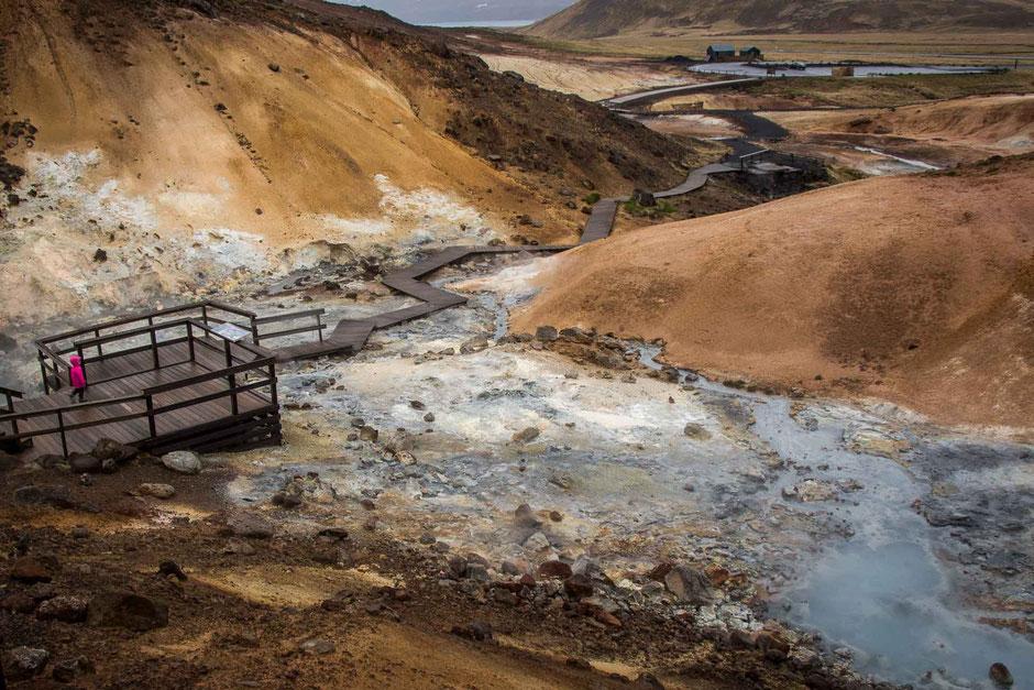 Krýsuvík geothermal field near Reykjavik Iceland with kids